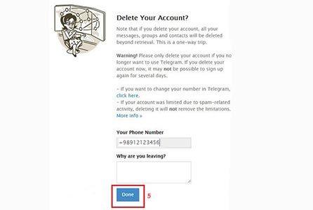 آموزش تصویری 2 روش حذف اکانت تلگرام طلایی