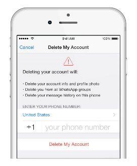 حذف اکانت واتساپ